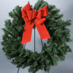 "24"" Artificial Evergreen Wreath with Red Velvet Bow"