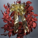 "24"" Glitter Apple Leaf Wreath Red"