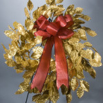 "24"" Glitter Apple Leaf Wreath Gold"
