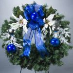 "24"" White Poinsettia, Silver & Blue Ornament Evergreen Wreath"