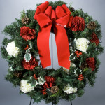 "24"" Carnation, Holly, Pinecone Evergreen Wreath"