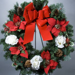 "24"" Poinsettia, Rose Holly Evergreen Wreath"